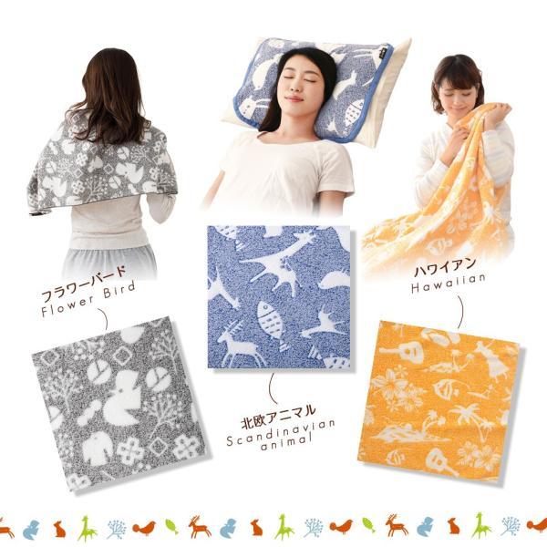 おぼろプリント 綿100% タオルケット ハーフサイズ 100×140cm 日本製 北欧 ハワイアン ふんわり|at-emoor|03