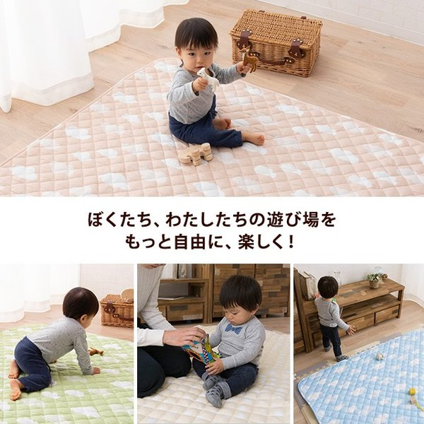 よちよちプレイマット 正方形 プレイマット マット 綿100% 滑り止め クッション性 ベビー用品 赤ちゃん キッズ ブルー イエロー 洗濯可|at-emoor|07