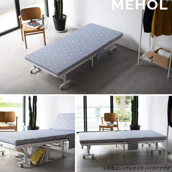 組立不要 折りたたみベッド セミダブル 『メホール』 折り畳みベッド リクライニングベッド|at-emoor|04