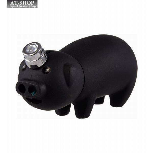 【あすつく】電子ライター トントンライター ブラック 豚ちゃん ガス注入式ライター アドミラル産業 おもしろライター 1個