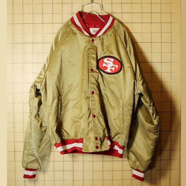 90s USA製 CHALK LINE NFL ナイロンスタジャン ゴールド SANFRANCISCO 49ERS フォーティナイナーズ 中綿入り アワード メンズL|ataco-garage