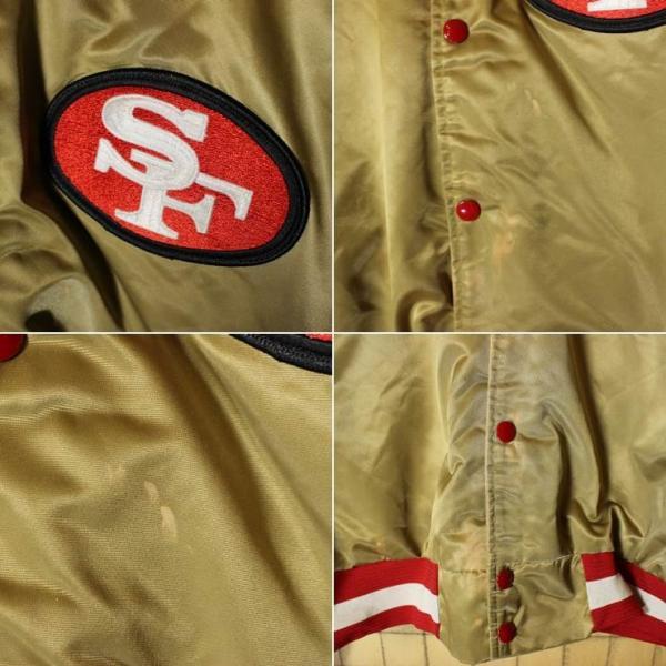 90s USA製 CHALK LINE NFL ナイロンスタジャン ゴールド SANFRANCISCO 49ERS フォーティナイナーズ 中綿入り アワード メンズL|ataco-garage|02