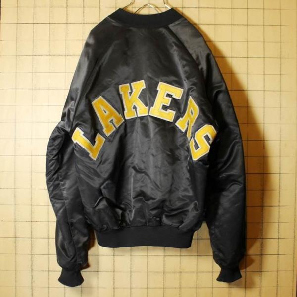90s USA製 CHALK LINE NBA ナイロンスタジャン ブラック LOS ANGELES LAKERS ロサンゼルス レイカーズ 中綿入り アワード メンズM|ataco-garage|06