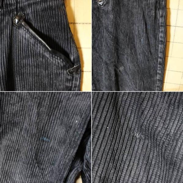 80s ドイツ製 ブラック 太畝 コーデュロイ ワーク フレア パンツ W34相当 EIKO ヨーロッパ古着 EURO 黒 ataco-garage 03