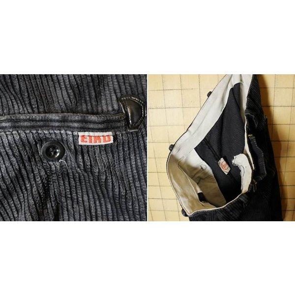 80s ドイツ製 ブラック 太畝 コーデュロイ ワーク フレア パンツ W34相当 EIKO ヨーロッパ古着 EURO 黒 ataco-garage 04