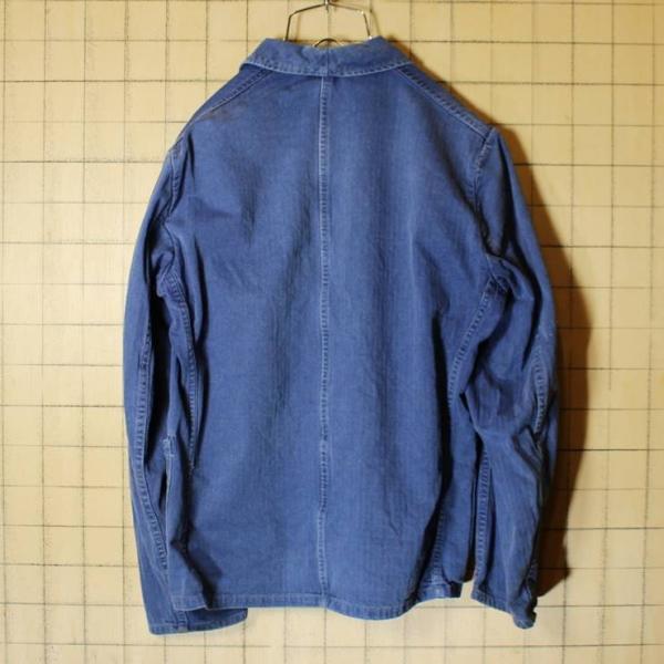 ドイツ 60s ヘリンボーン ワーク ジャケット ネイビー ビンテージ ヨーロッパ古着 euro メンズM相当|ataco-garage|05
