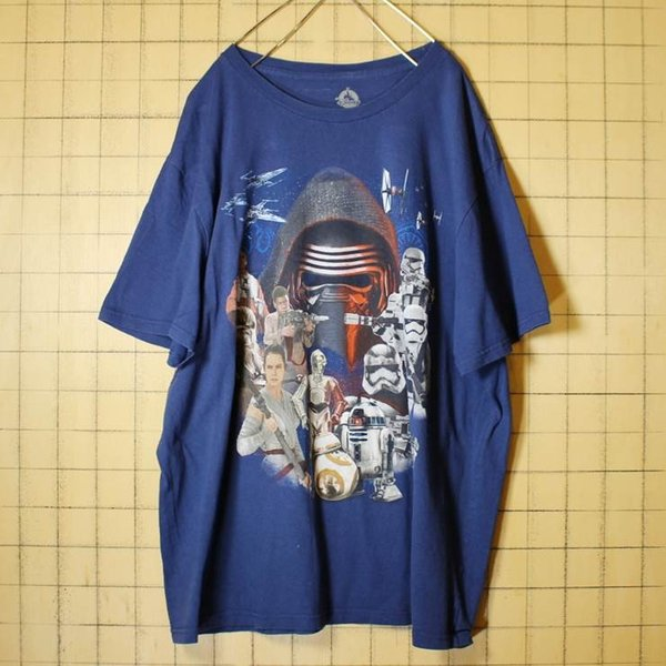 STAR WARS C3PO R2D2 チューバッカ プリント 半袖 Tシャツ ネイビー メンズ2XL ビッグシルエット 古着|ataco-garage