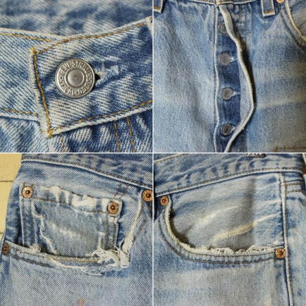 USA製 古着 Levis リーバイス 501XX クラッシュ ジーンズ デニム パンツ ブルー W33 070319ss127|ataco-garage|02