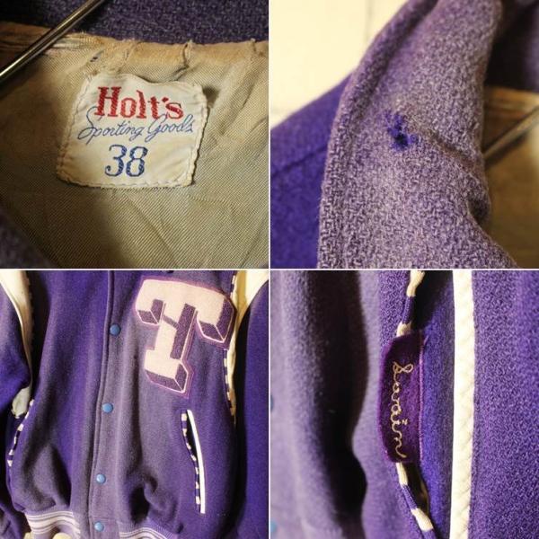40s-50s USA製 Holt's ウール スタジャン アワード バーシティジャケット パープル メンズSM相当 ビンテージ 古着 ダメージ ワッペン ataco-garage 02
