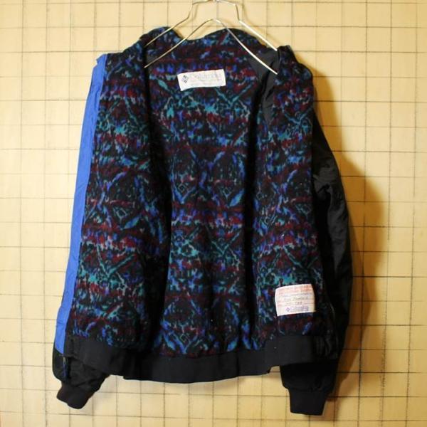 80s-90s Columbia コロンビア 中綿 ナイロン ジャケット 裏総柄フリース ジップアップ ブラック メンズM相当 レディースL相当 古着|ataco-garage|04