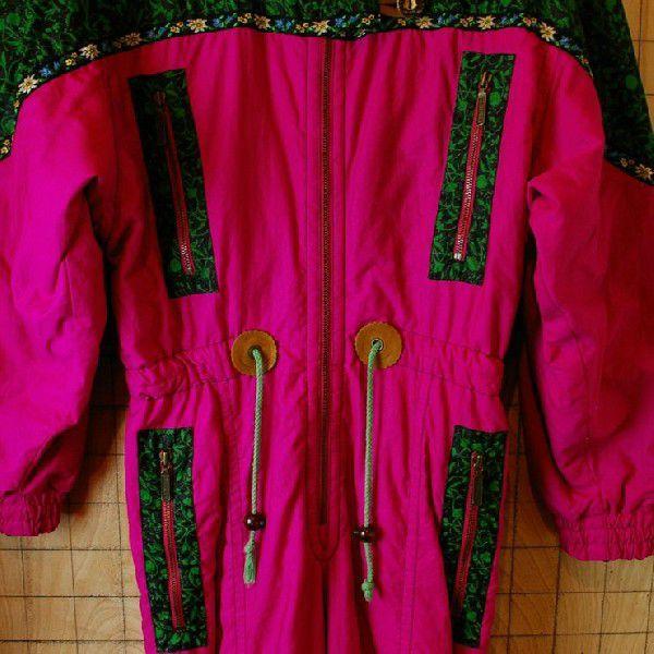 80s オーストリア製古着スキーウェアショッキングピンクチロリアンテープ中綿ツナギ オールインワン ジャンプスーツHEAD ataco-garage 05