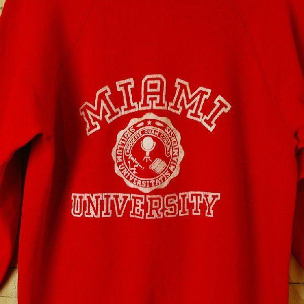 ビンテージ アメリカ古着MAIAMI UNIVERSITY マイアミ大学 レッド 赤 プリントカレッジスウェット トレーナー|ataco-garage|03