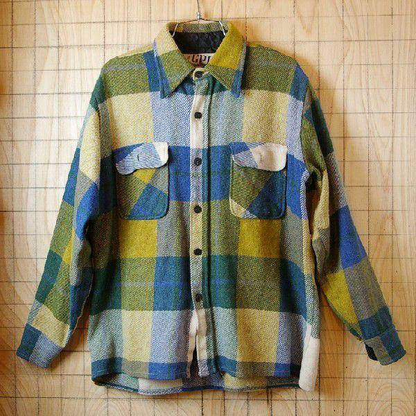 CPO USA古着長袖メンズイエロー×ブルー×グリーン 青×黄×緑 ビンテージウールCPOシャツ ataco-garage