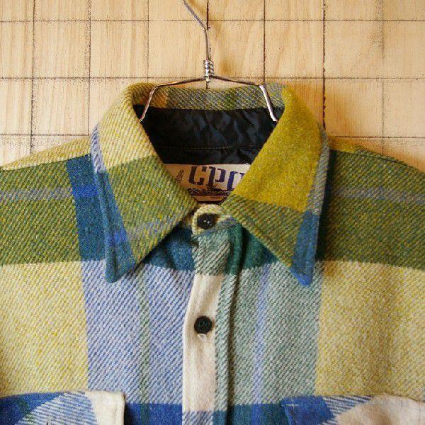 CPO USA古着長袖メンズイエロー×ブルー×グリーン 青×黄×緑 ビンテージウールCPOシャツ ataco-garage 02