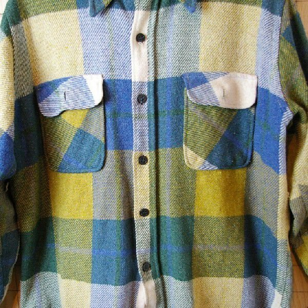 CPO USA古着長袖メンズイエロー×ブルー×グリーン 青×黄×緑 ビンテージウールCPOシャツ ataco-garage 03