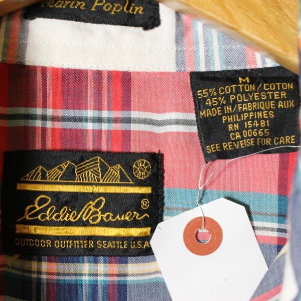 Eddie Bauer 古着レッド×ホワイトライトフランネルチェックシャツ メンズMサイズ ataco-garage 05