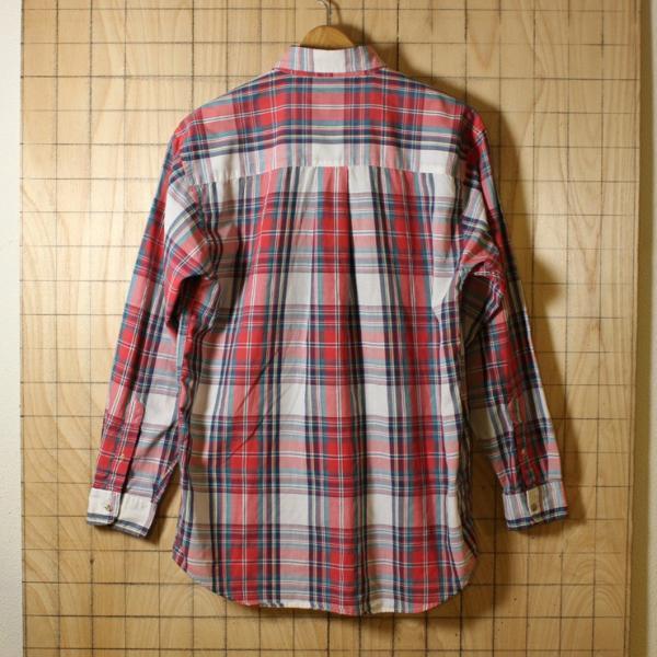 Eddie Bauer 古着レッド×ホワイトライトフランネルチェックシャツ メンズMサイズ ataco-garage 06