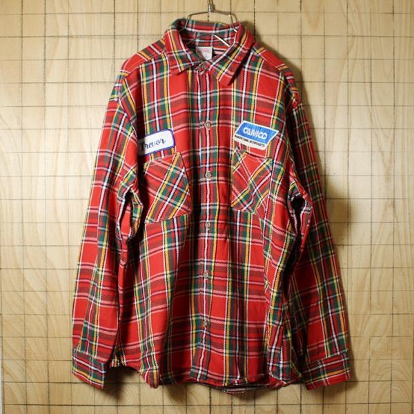 BIGMAC USA製70s古着 レッドグリーンチェックネルシャツ メンズL|ataco-garage