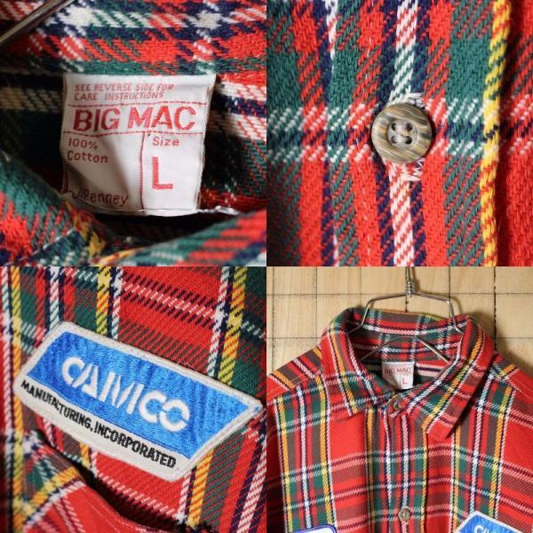 BIGMAC USA製70s古着 レッドグリーンチェックネルシャツ メンズL|ataco-garage|02