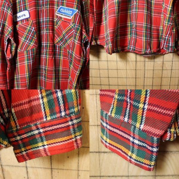 BIGMAC USA製70s古着 レッドグリーンチェックネルシャツ メンズL|ataco-garage|03