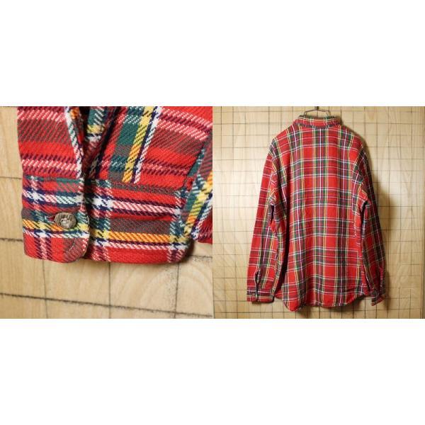 BIGMAC USA製70s古着 レッドグリーンチェックネルシャツ メンズL|ataco-garage|05