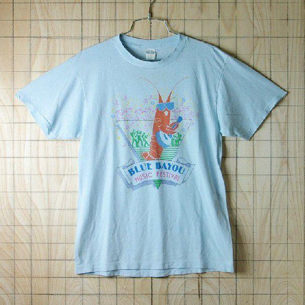 古着USA アメリカ 製水色 ライトブルー CHEDメンズTシャツ|ataco-garage