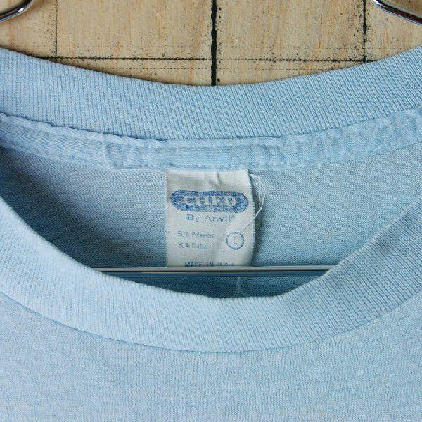 古着USA アメリカ 製水色 ライトブルー CHEDメンズTシャツ|ataco-garage|02