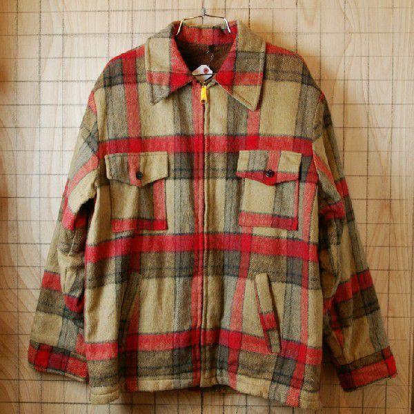古着メンズUSA製ベージュ×レッドチェックSIMCOジップ裏地ボアウールCPOシャツ ジャケット|ataco-garage