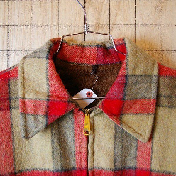 古着メンズUSA製ベージュ×レッドチェックSIMCOジップ裏地ボアウールCPOシャツ ジャケット|ataco-garage|02