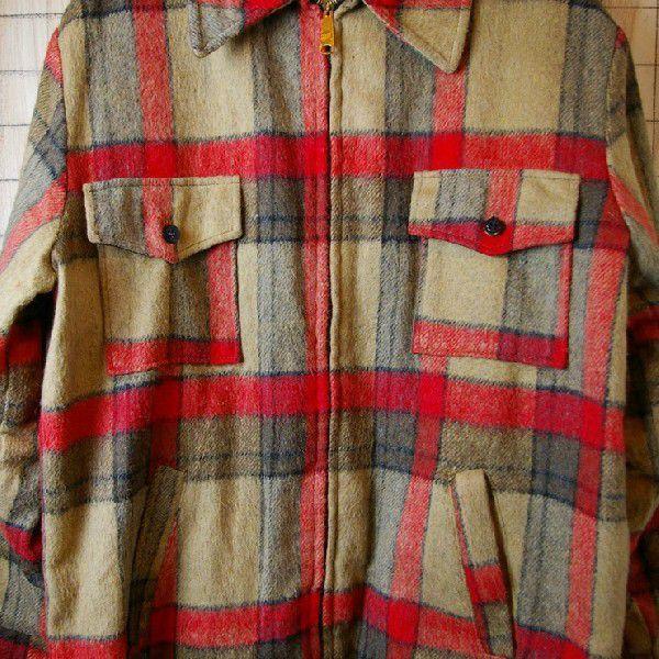 古着メンズUSA製ベージュ×レッドチェックSIMCOジップ裏地ボアウールCPOシャツ ジャケット|ataco-garage|04