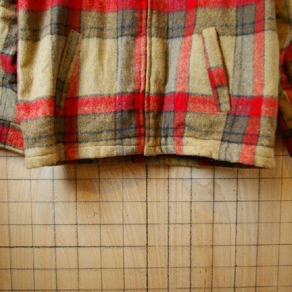 古着メンズUSA製ベージュ×レッドチェックSIMCOジップ裏地ボアウールCPOシャツ ジャケット|ataco-garage|05