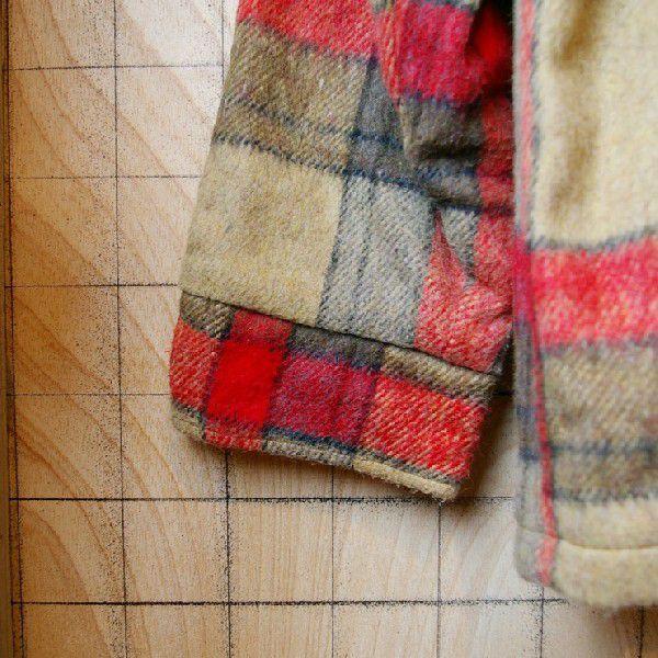 古着メンズUSA製ベージュ×レッドチェックSIMCOジップ裏地ボアウールCPOシャツ ジャケット|ataco-garage|06