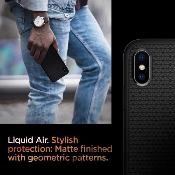 【Spigen】 スマホケース iPhone XS ケース/iPhone X ケース 5.8インチ TPU 米軍MIL規格取得 耐衝撃 リキッド・エアー 057CS22123 (マット・ブラック)|atak|04