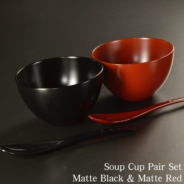 結婚祝い 食器 スープカップ ペアセット BLACK&RED おしゃれ 食器洗浄機対応 日本製 内祝 引き出物|atakaya