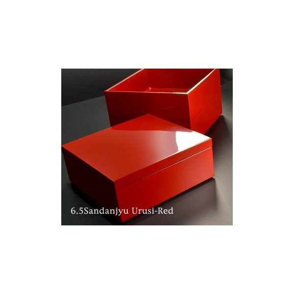重箱 6.5寸 三段重 漆塗り 朱 (日本製 モダン 越前漆器 お重 おせち 弁当 箱)|atakaya|02