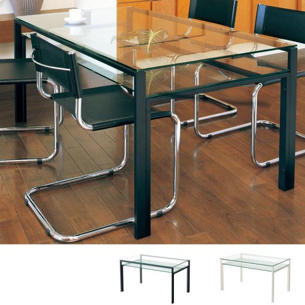 ダイニングテーブル ガラス製 DT-ダイニングテーブル W1300タイプ(天板クリアー・棚板クリアー) atease