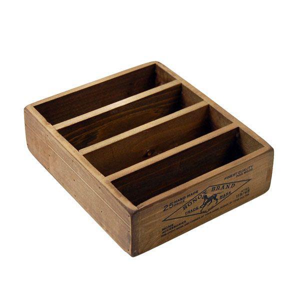 ハガキ・カード整理 木製収納ボックス ダルトン ポストカード用ウッドボックス Wooden box for postcards アンティークフィニッシュ