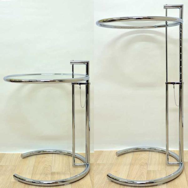 サイドテーブル E1027 アイリーン・グレイ カクテルテーブル 強化ガラス 高さ調整可能 リプロダクト シンプルモダン|atease|06