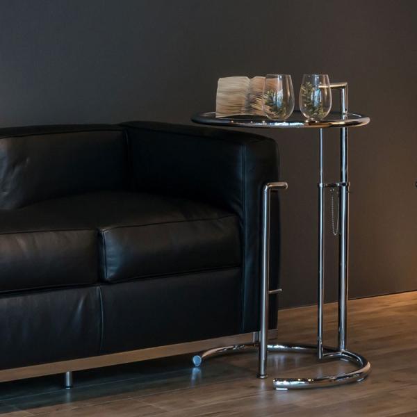 サイドテーブル E1027 アイリーン・グレイ カクテルテーブル 強化ガラス 高さ調整可能 リプロダクト シンプルモダン|atease|07