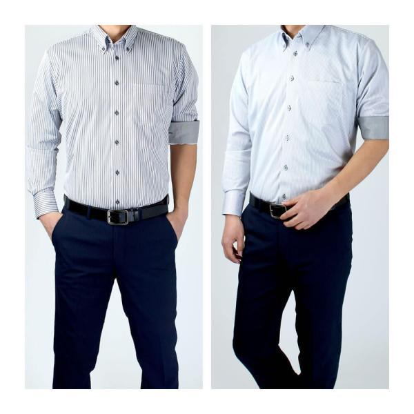 ワイシャツ メンズ 長袖 Yシャツ ボタンダウン ビジネス シャツ わけあり sun-ml-wd-1130 NC 宅配便のみ クールビズ|atelier365|09
