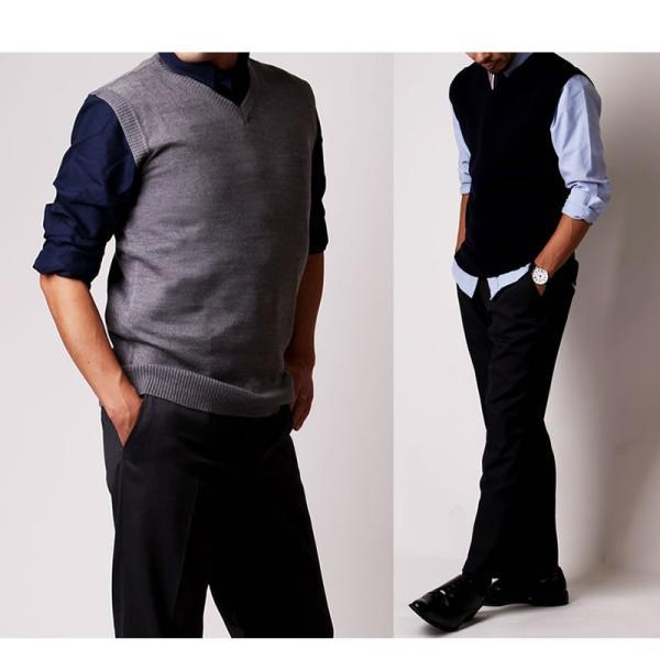 ベスト Vネック ニット メンズ カシミアタッチ ビジネス オフィスカジュアル 制服 事務服 シンプル oth-me-knit-1605 クールビズ|atelier365|09