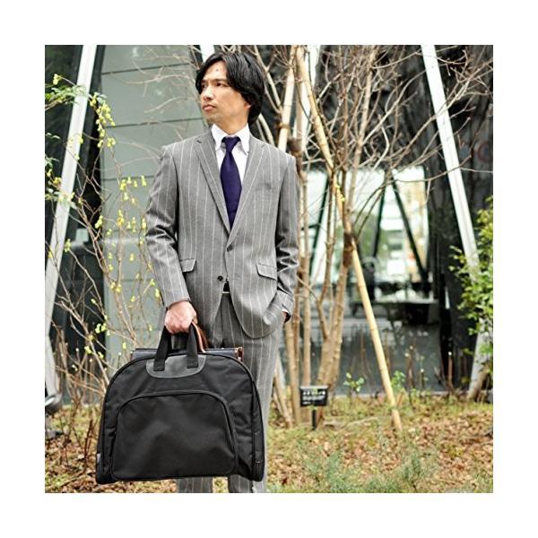 ガーメントバッグ メンズ 撥水加工 出張 冠婚葬祭 スーツバッグ ガーメントケース ハンガー付き/atelierCODEL (ブラック)|ateliercodel|02