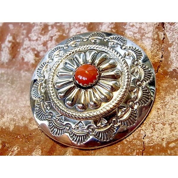 コンチョ ボタン シルバー sv950 コーラル 赤サンゴ ネイティブデザイン レザーアイテムに 髪留め ネジ ドットボタン 丸カン ループ 経年変化 039