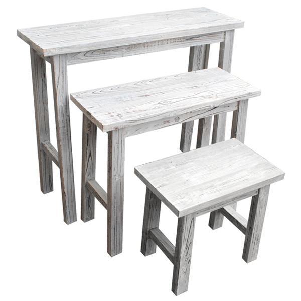 フラワーラック 木製 アンティーク調 ガーデンラック [ホワイトスツール風花台 3点セット YT-406080WW]/同梱不可・代引き不可