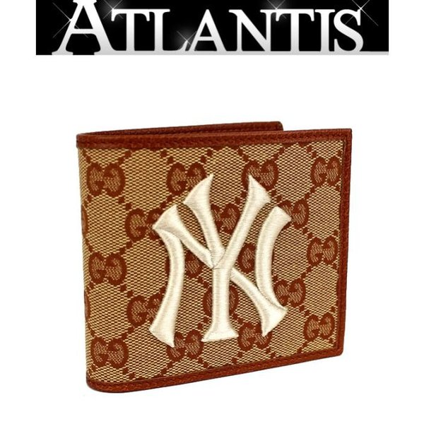 3be8b35481d3 新品 グッチ GUCCI 二つ折り 財布 ニューヨーク ヤンキース パッチ GGキャンバス 547785の画像