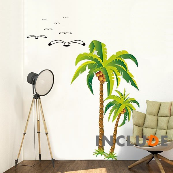 ウォールステッカー 南国 ハワイ ビーチ palma リゾート ガーデン トロピカルプランツ リーフ 椰子 ヤシの木 ボタニカル 南国気分 グリーン 西海岸 ハワイ