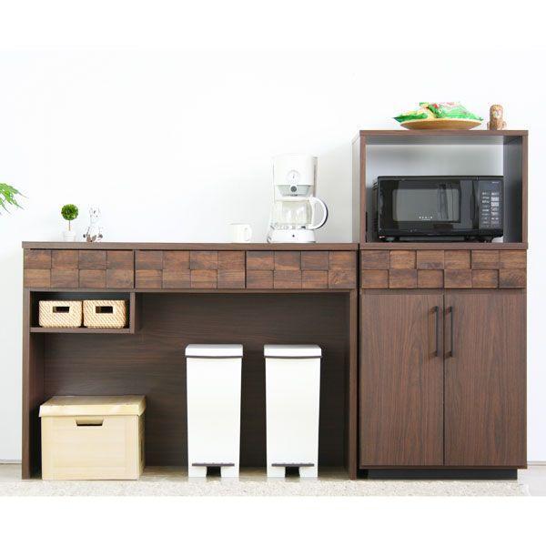 キッチンカウンター ダストボックス 完成品 幅120 キッチン収納 おしゃれ ミッドセンチュリー ウォールナット カフェ風|atom-style|03