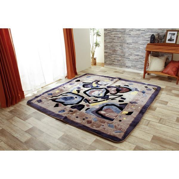在庫処分品 ムートン ラグ カーペット 絨毯 冬用 オールシーズン 200х200cm ムラサキ|atorie-moon|02