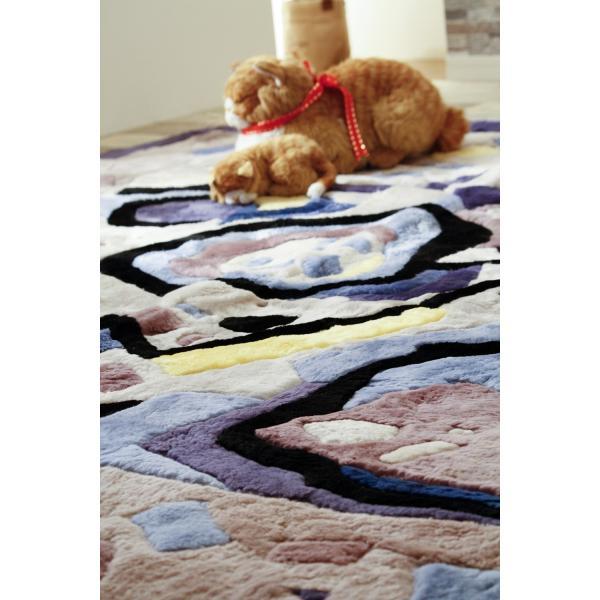 在庫処分品 ムートン ラグ カーペット 絨毯 冬用 オールシーズン 200х200cm ムラサキ|atorie-moon|04