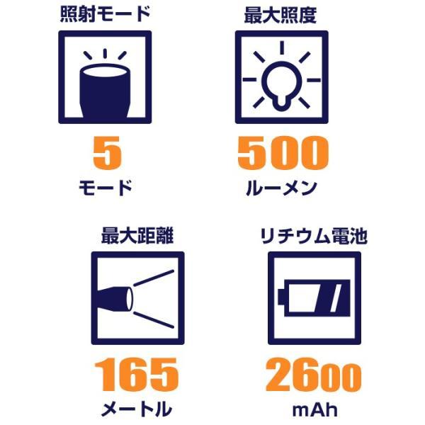 富士倉 充電式LEDハンディーライト C-010 懐中電灯 リチウムイオン電池 USB充電式 防水仕様 スマホ充電対応【納期2か月前後】|atrescue|02